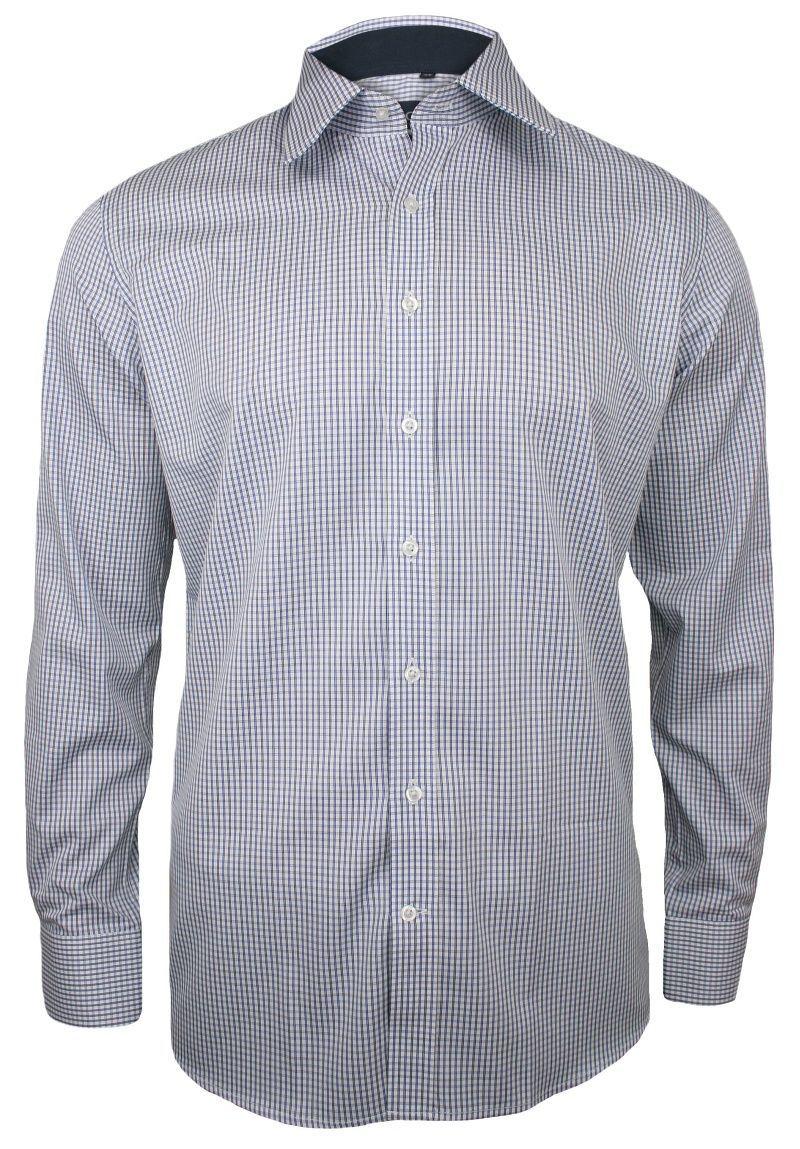 Niebieska Koszula Męska z Długim Rękawem, 100% Bawełna -CHIAO- Taliowana, w Drobną Kratkę KSDWCHIAOM3D03C