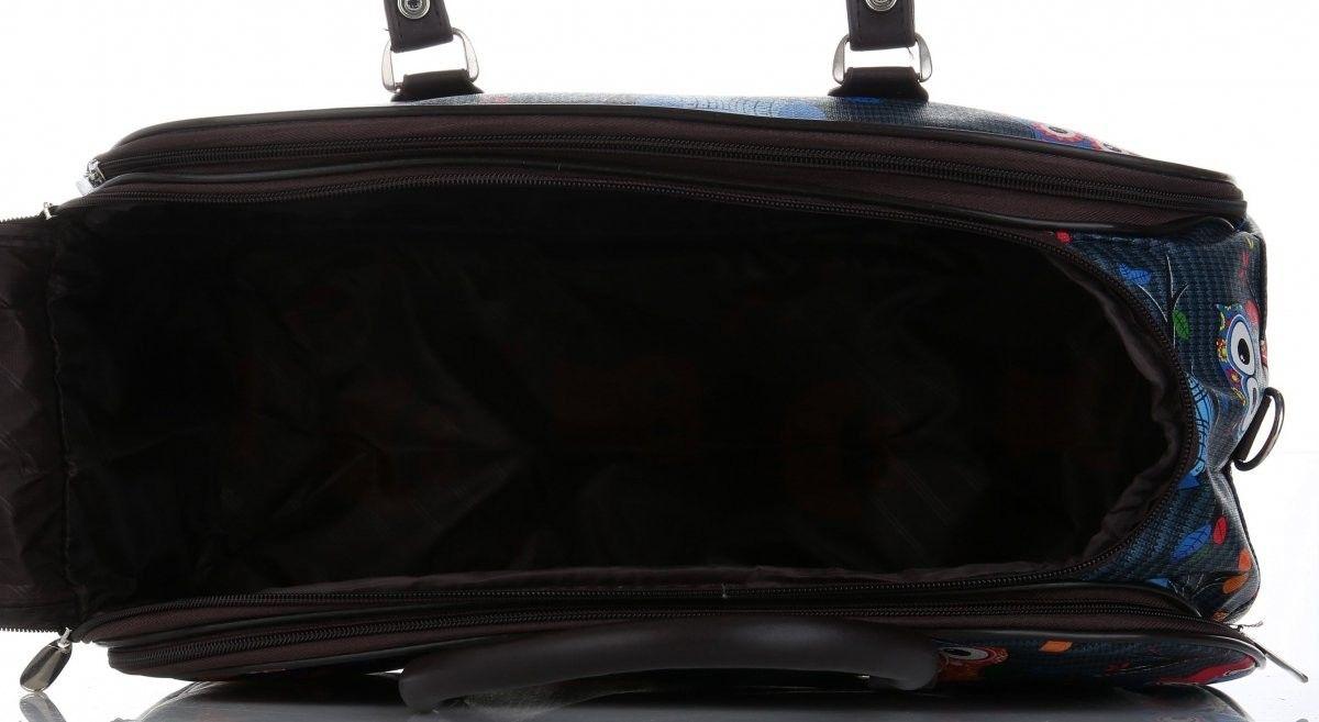 Modne Duże torby podróżne kuferki w sowy włoskiej marki Or&Mi Multikolorowe Morskie (kolory)