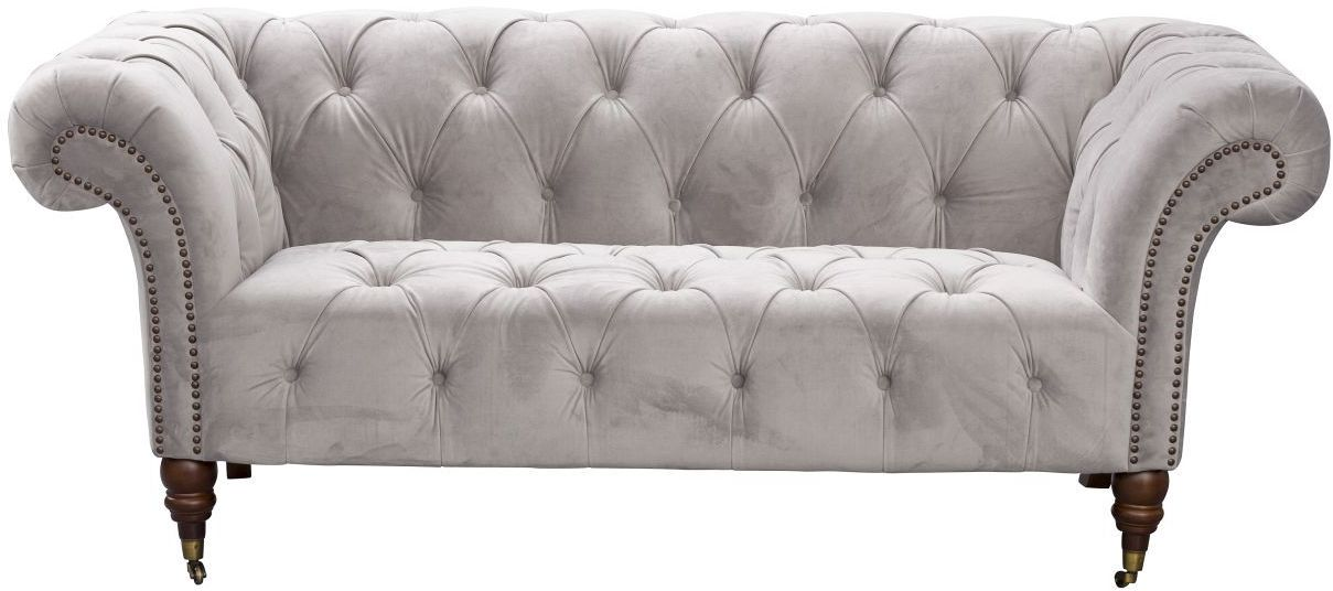Sofa Chesterfield Glamour Velvet Light Grey 2-os.