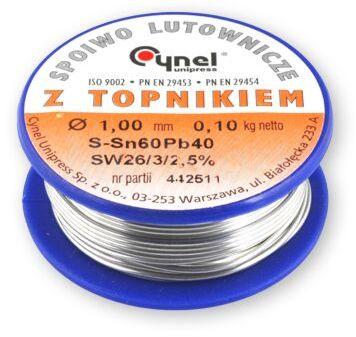 Spoiwo CYNEL Sn60Pb40 drut lutowniczy 1mm 0,10kg Topnik F-SW26 2,5%