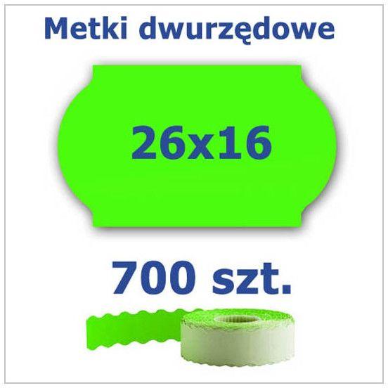 Metki dwurzędowe 26x16 zielone, fala 3500szt