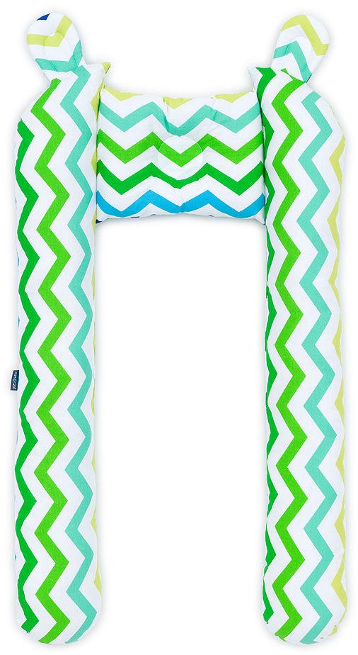 Ochraniacz do łóżeczka wózka BUMPER - Zygzak niebiesko-zielony