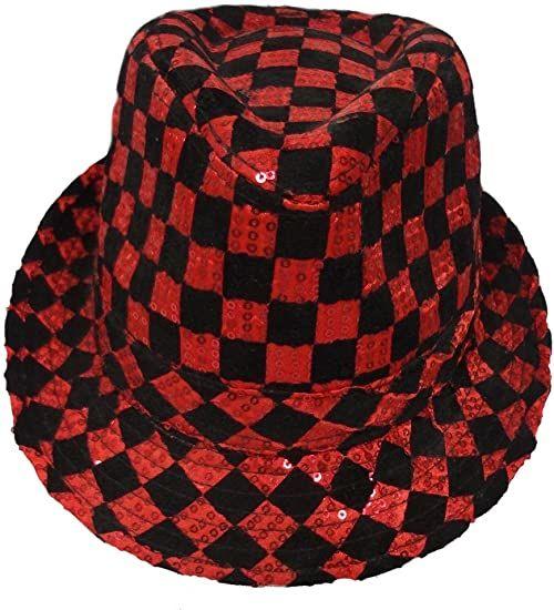 Dress Up America czerwona szachownica czapka Fedora dla dorosłych