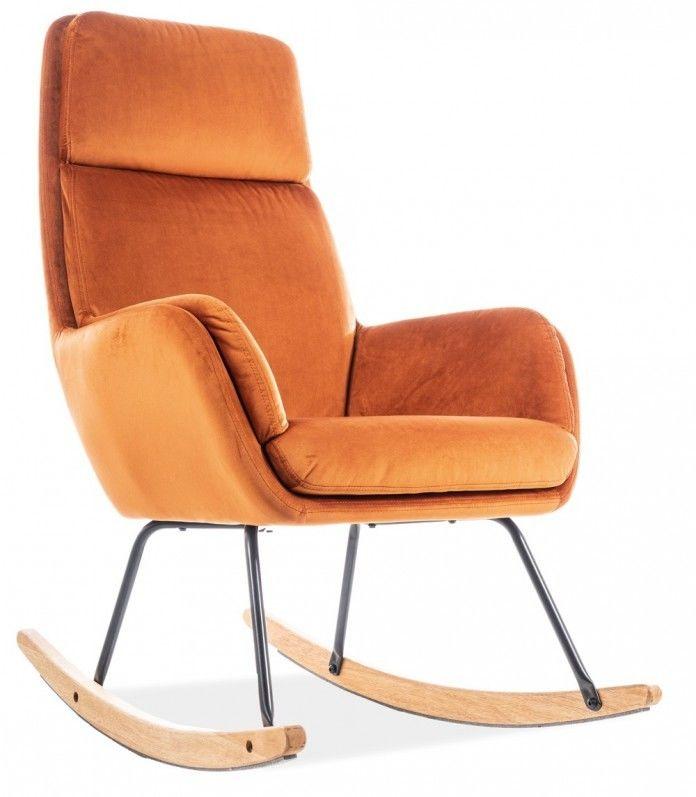 Pomarańczowy fotel na biegunach welurowy HOOVER VELVET bujany - TAP.179