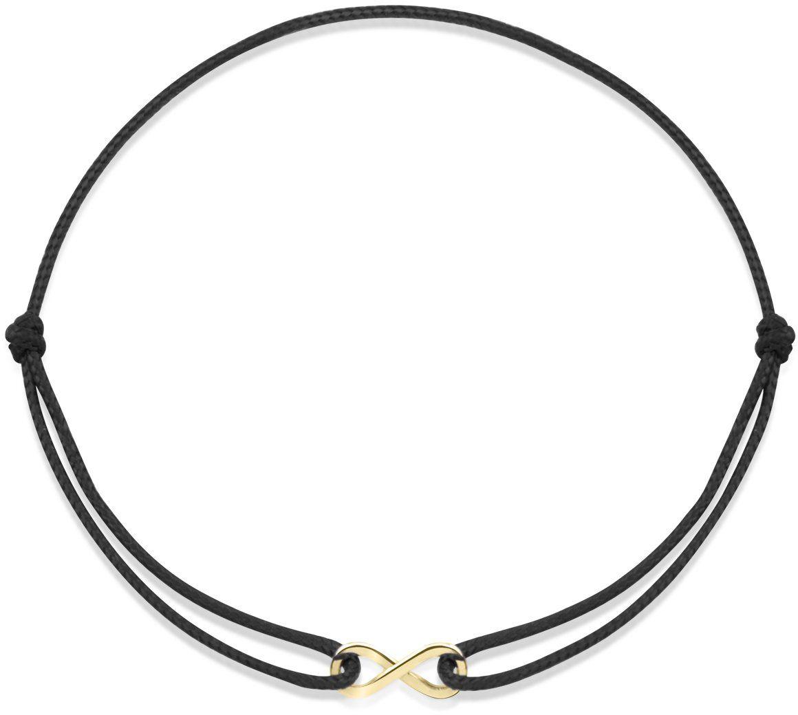 Sznurkowa czarna bransoletka ze złotym znakiem nieskończoności pr. 585
