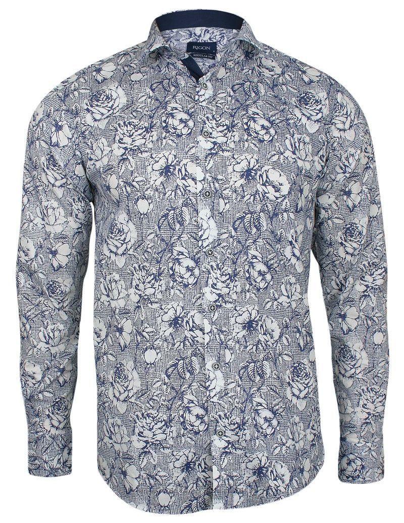 Biała Elegancka Koszula w Niebieskie Kwiaty -RIGON- Długi Rękaw, Krój Prosty, Męska KSDWRGN0702biala