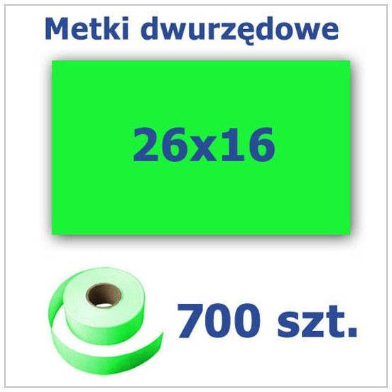 Metki dwurzędowe 26x16 zielone, prostokątne 3500szt