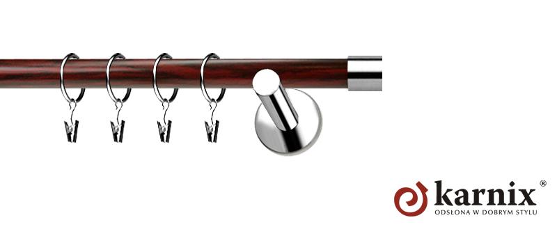 Karnisze Nowoczesne NEO Prestige pojedynczy 19mm Luna INOX - mahoń