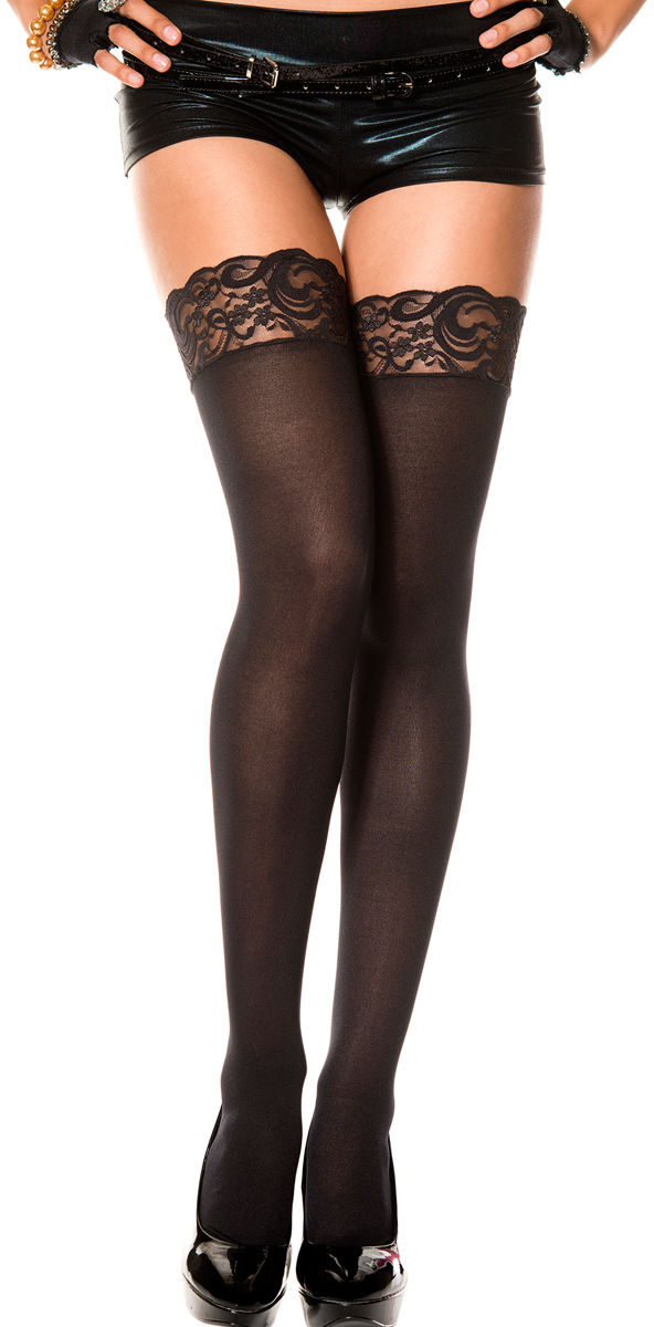 Musiclegs Lace Top Opaque Thigh High 4747 Black