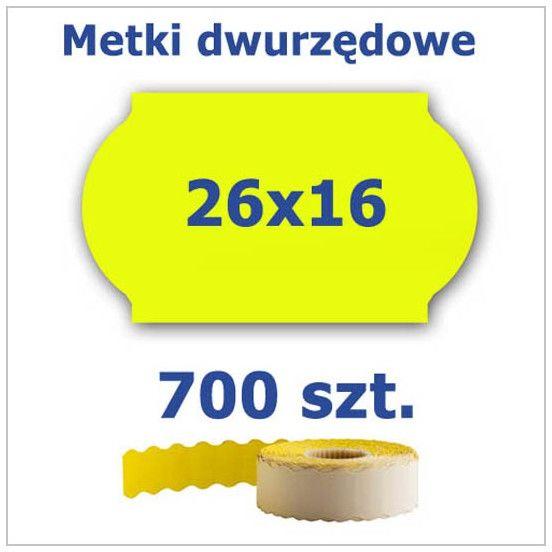Metki dwurzędowe 26x16 żółte, fala 3500szt