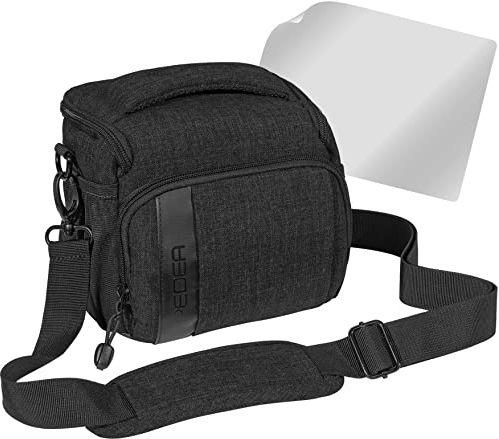 """PEDEA DSLR torba na aparat """"Fashion"""" z folią ochronną na wyświetlacz do Canon EOS 5D Mark II 400D 2000D / Nikon D60 D80 D90 D3100 D3200 D3300 D3400 D5300 D7100 / Pentax K 50 K 500, rozm. L czarny"""