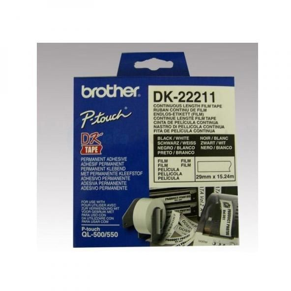 Oryginalna folia Brother DK 22211 29mm x 15.24m biała/czarny nadruk