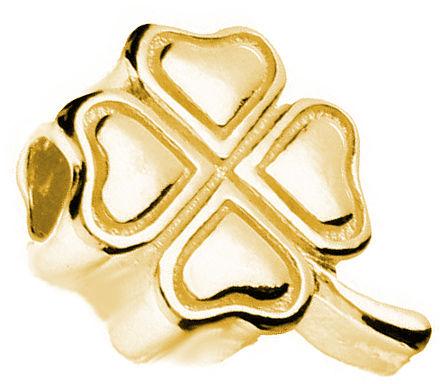Pozłacany srebrny charms do pandora little beads czterolistna koniczynka lucky srebro 925 LB005Y
