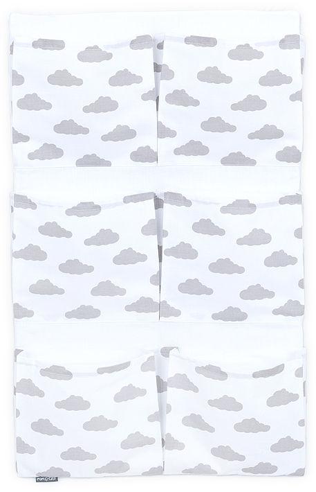 MAMO-TATO Przybornik BEST LUX organizer na łóżeczko - Chmurki szare na bieli