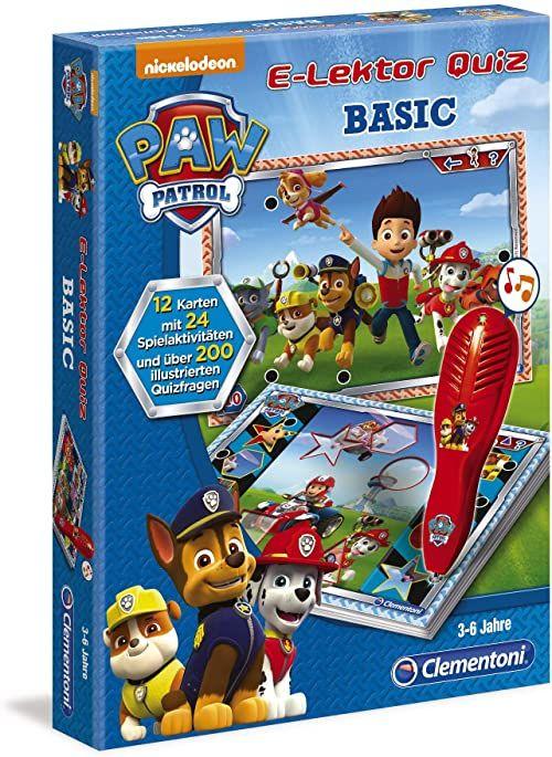 Clementoni 69368 E-Lektor Quiz Basic  Psi Patrol, gra edukacyjna z ponad 200 pytań, zabawka dla dzieci w wieku od 3 do 6 lat, do przedszkola, szkoły i jako wspaniały prezent na Boże Narodzenie