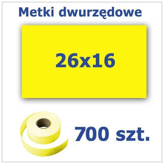 Metki dwurzędowe 26x16 żółte, prostokątne 3500szt