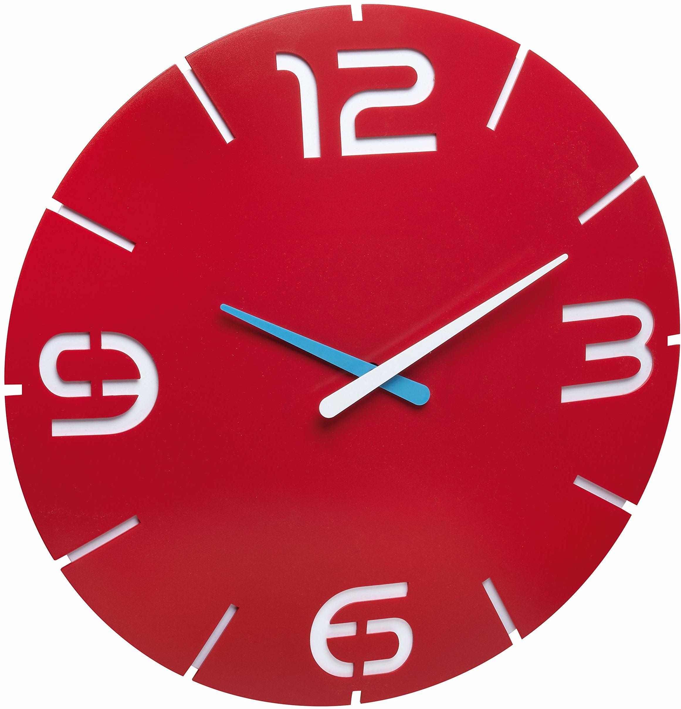 TFA Dostmann Contour designerski zegar ścienny, nowoczesny, 350 x (wys.) 35 mm, tworzywo sztuczne, czerwony/biały, 60.3047.05