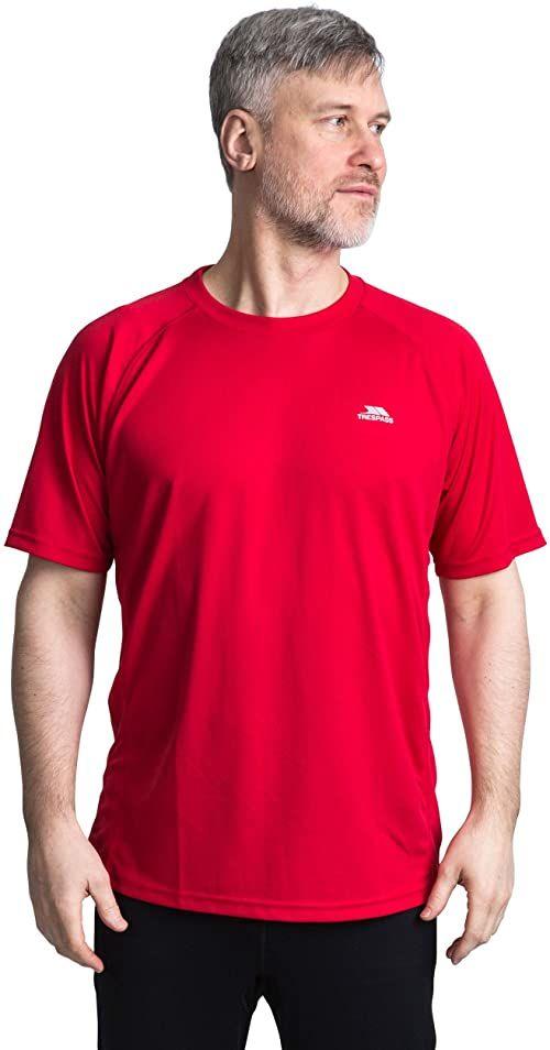 Trespass Debase, Red, XXS, szybkoschnący t-shirt dla mężczyzn, XX-Small / 2XS / 2X-Small, czerwony