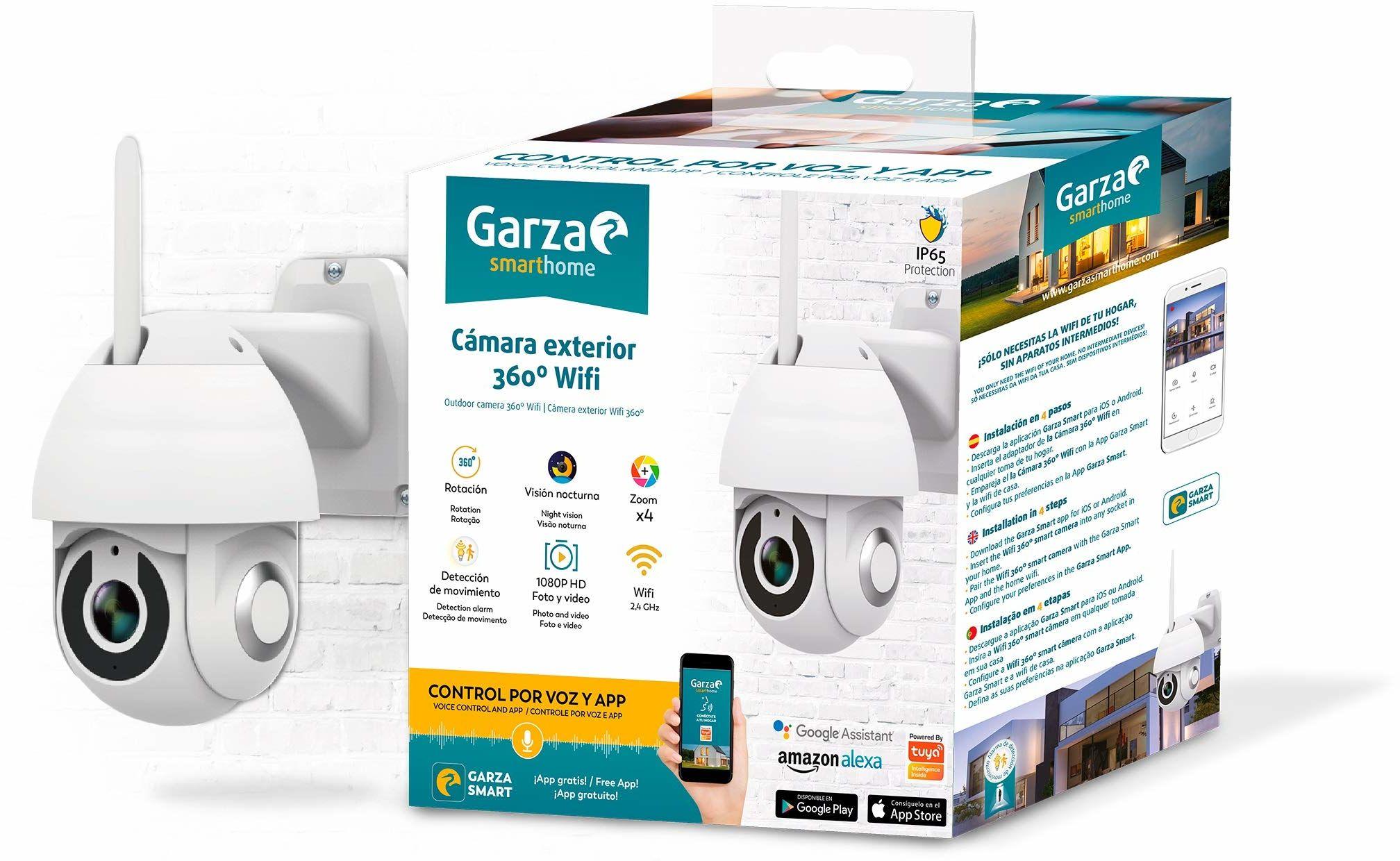 Garza Smarthome 360 WiFi kamera zewnętrzna do monitoringu HD 1080p, widoczność w nocy i zoom, sterowanie głosem i aplikacja, Alexa, iOS, Google, Android