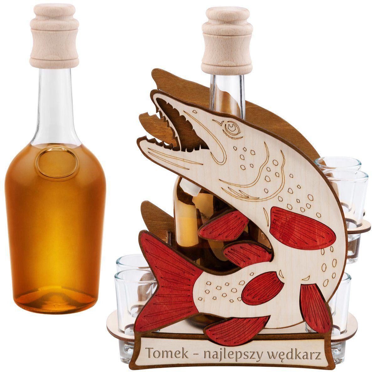 Komplet 7-częściowy Karafka i kieliszki Szczupak z Grawerem