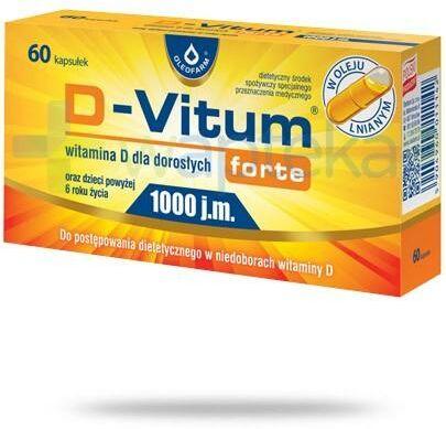 D-Vitum Forte 1000 witamina D dla dorosłych i dzieci 6+ 60 kapsułek