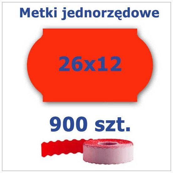 Metki jednorzędowe 26x12 czerwone, fala 4500szt