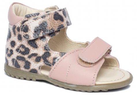 EMEL E2431A-6 sandałki sandały profilaktyczne ROCZKI dziecięce - pudrowy róż i panterka