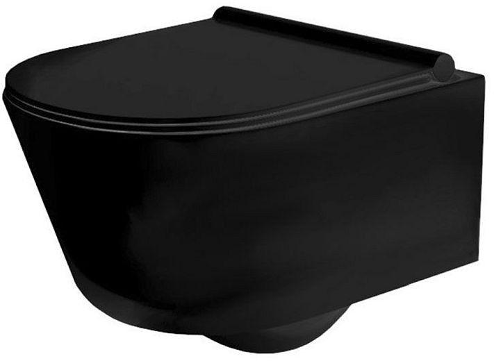 Miska WC podwieszana z deską Porter Black Rimless Rea (REA-C2361)