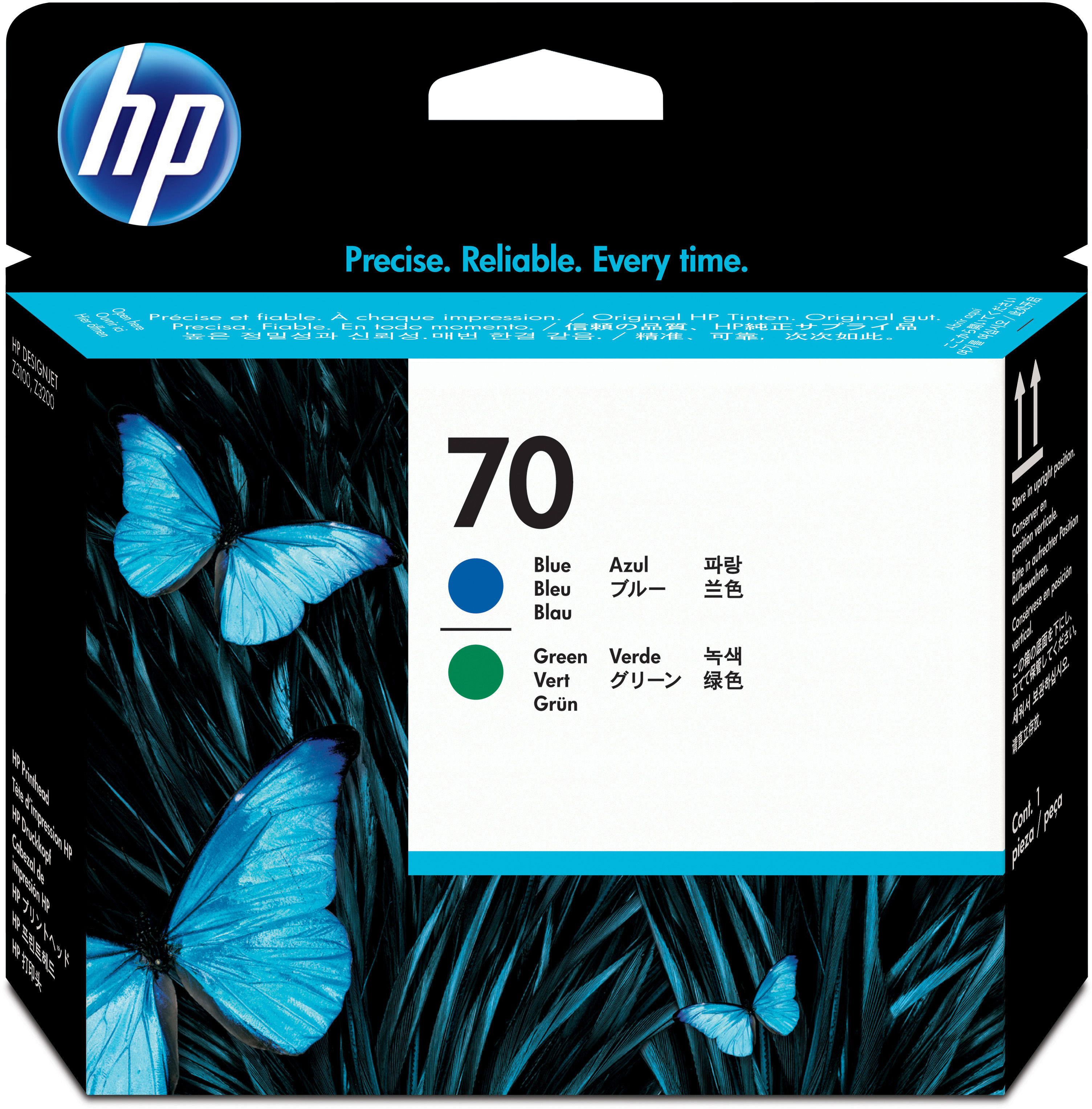 HP 70 Blue and Green Printhead Use in selected HP DesignJet printers