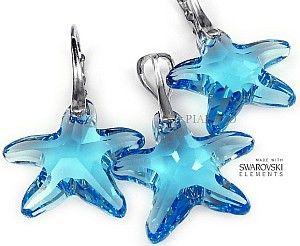 Kryształy Kolczyki+Wisiorek Blue Starfish