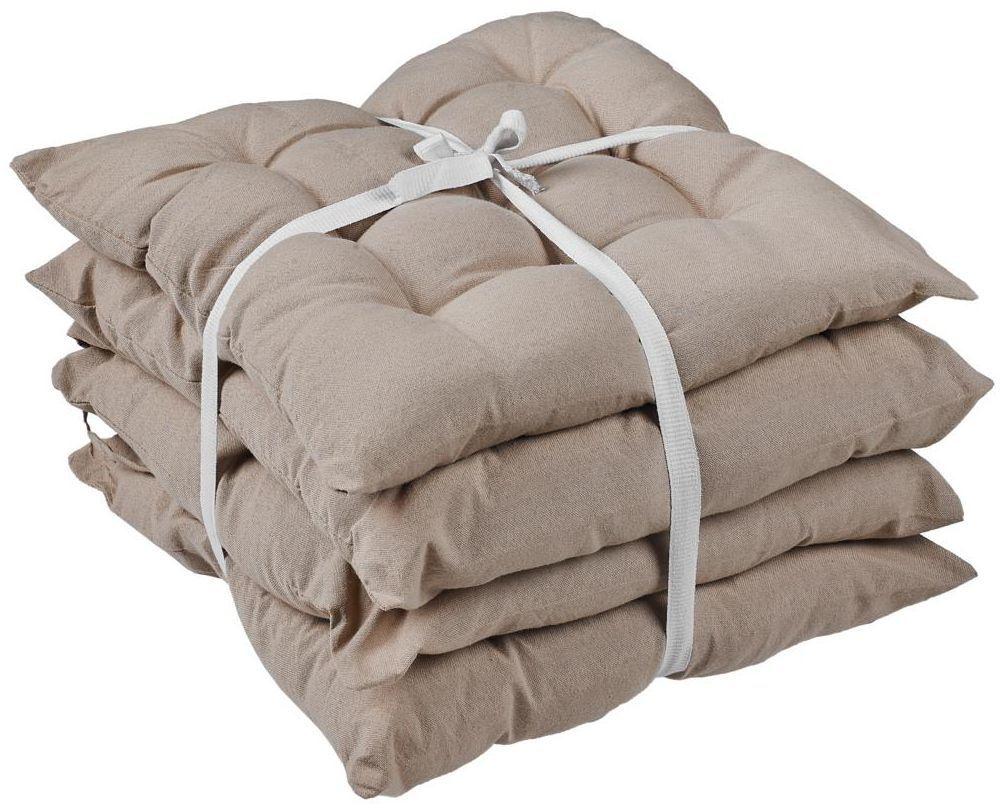 Komplet 4 poduszek na krzesło Popy beżowe 38 x 38 x 5 cm