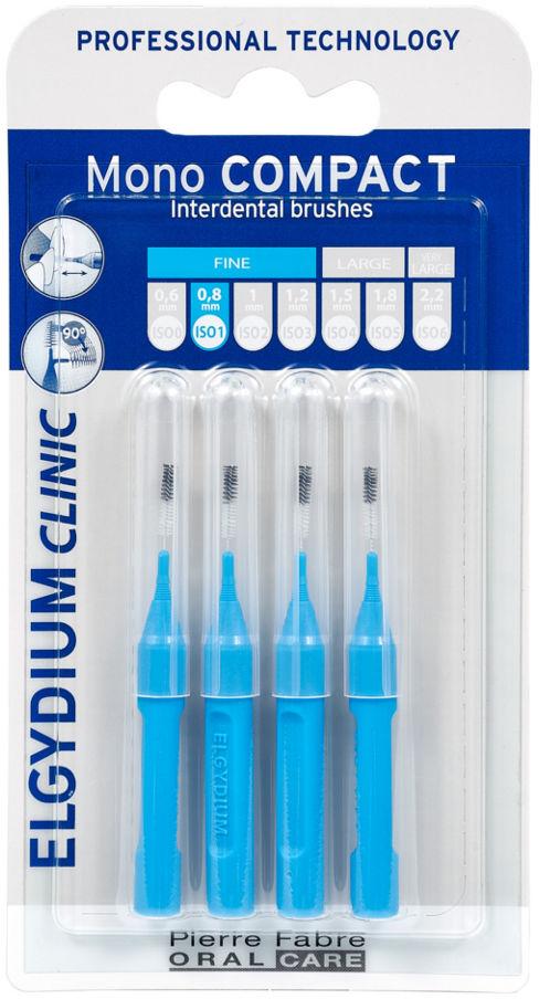 ELGYDIUM Mono COMPACT-1 (niebieskie) - szczoteczki międzyzębowe 0,8mm 4szt. - NOWOŚĆ