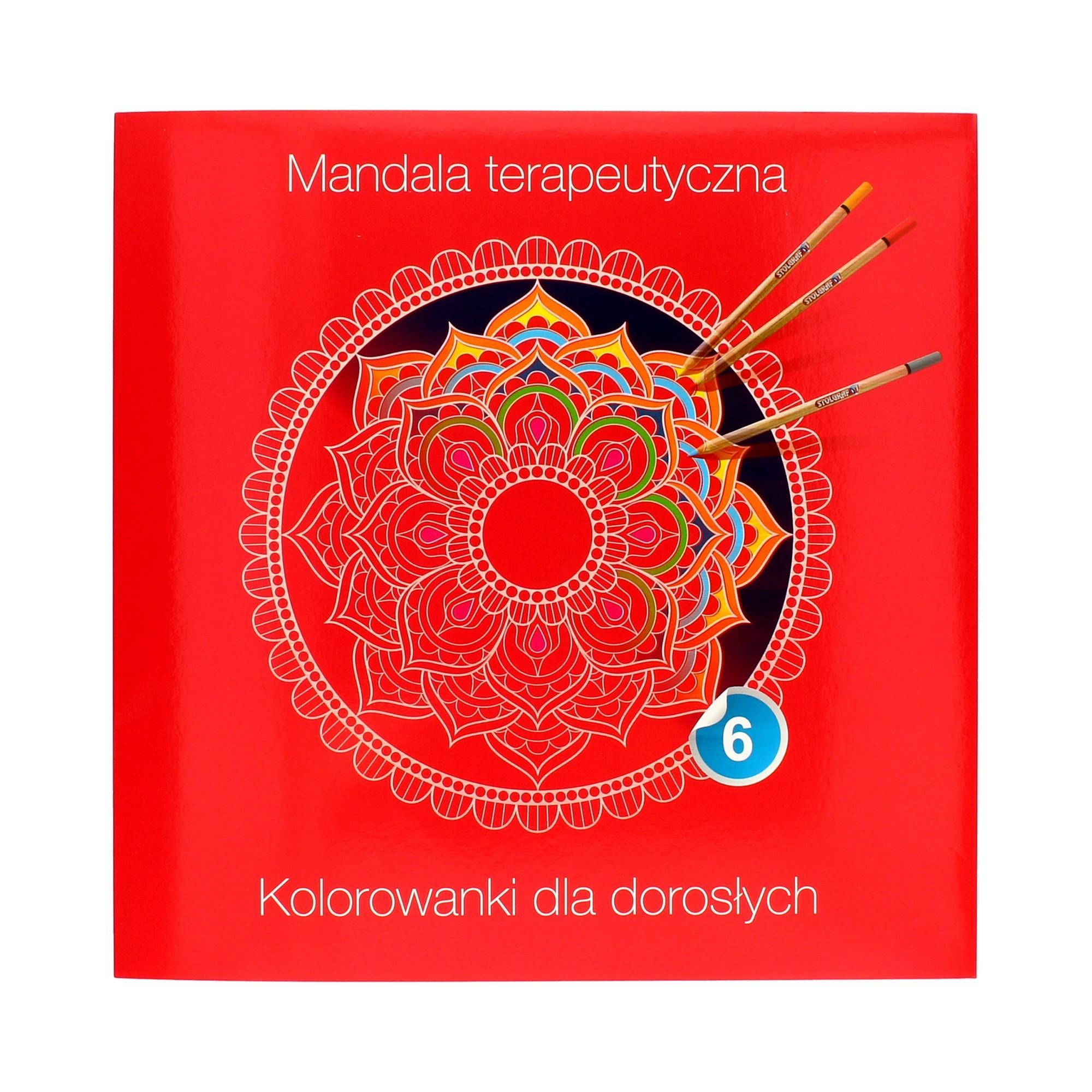 Kolorowanka terapeutyczna dla dorosłych czerwona Mandala