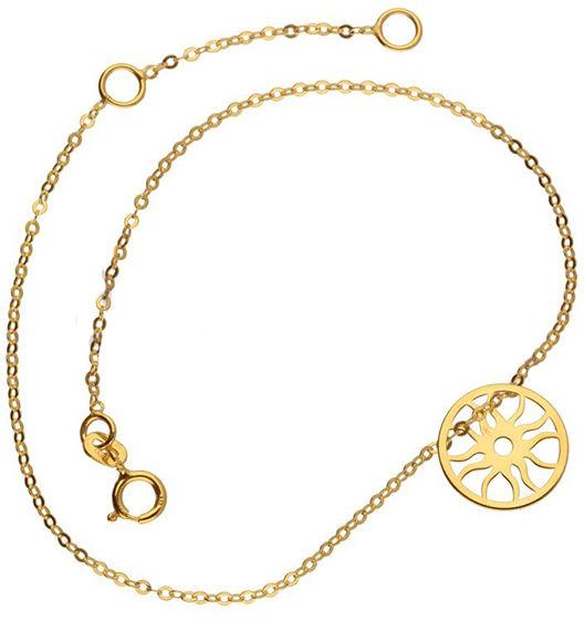 Złota bransoletka 585 zawieszka koło słońce 0,58 g