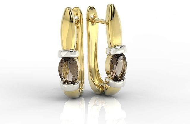 Kolczyki z żółtego i białego złota z kwarcami dymnymi apk-67zb