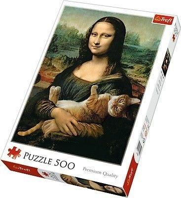 Trefl Puzzle 500 - Mona Lisa i kot Mruczek, Mona Lisa and purring kitty