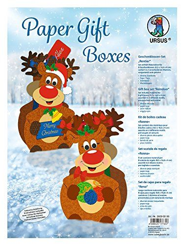 Ursus 28090099  zestaw pudełek prezentowych z reniferem, 8 pudełek, sortowane w 2 motywach, kolorowe