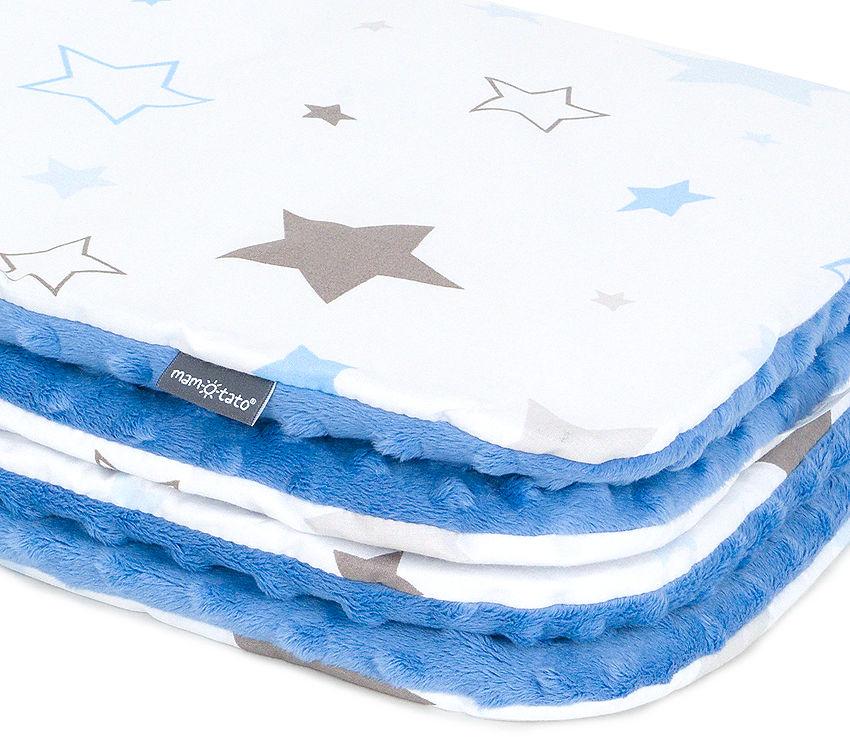 MAMO-TATO Komplet kocyk Minky do wózka + poduszka Gwiazdozbiór niebieski / jeans - ocieplony