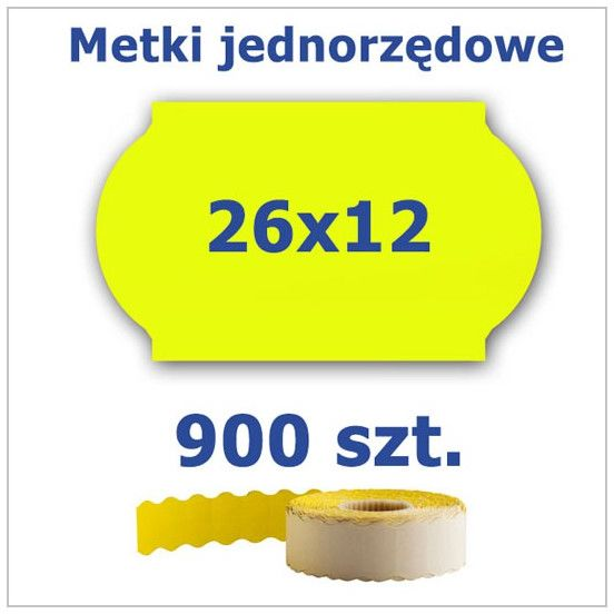 Metki jednorzędowe 26x12 żółte, fala 4500szt