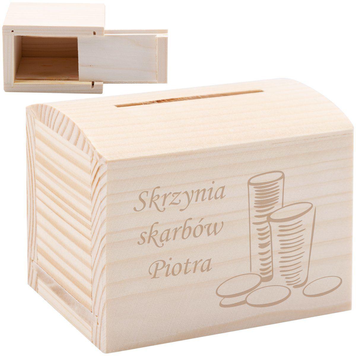 Drewniana skarbonka kuferek mały z Grawerem