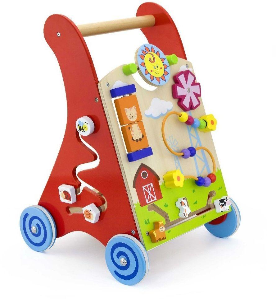 Pchacz panel edukacyjny Drewniany czerwony Viga Toys