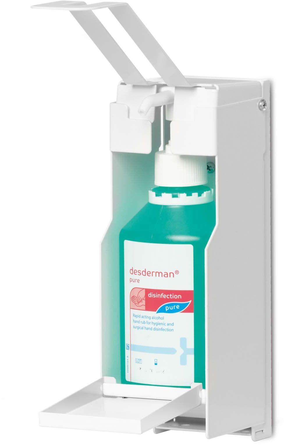 Durable 589302 dozownik ścienny do środków dezynfekujących lub mydła, z długą dźwignią ramienia, elastyczne dopasowanie do butelek o pojemności do 500 ml, biały