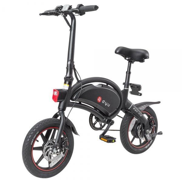 DYU D3 + Składany motorower rower elektryczny 14 cali 240W - czarny