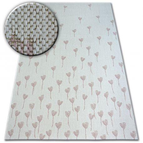 Dywan SZNURKOWY SIZAL FLAT 48779/526 Kwiatuszki krem róż 80x150 cm