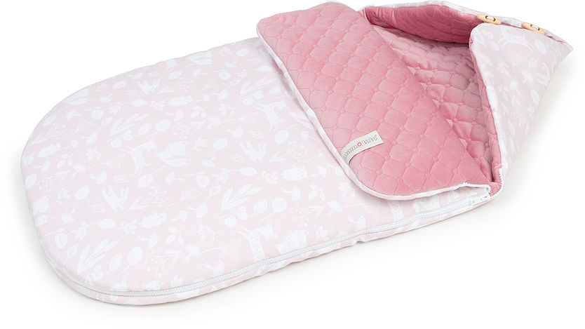 """Śpiworek do wózka gondoli fotelika LETNI 0-12 miesięcy """"S"""" PREMIUM - Las pastelowy róż / różany"""