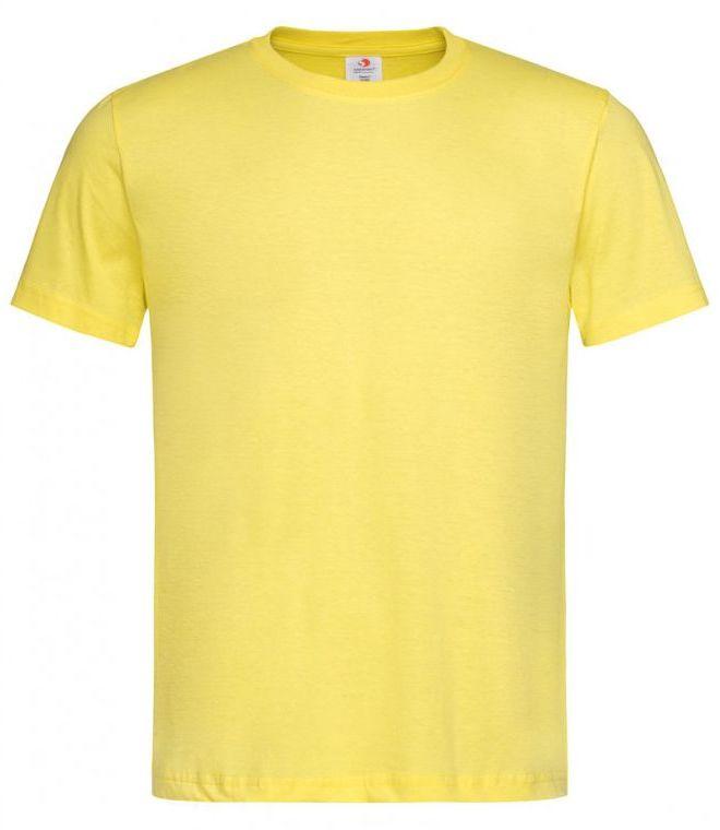 Żółty Bawełniany T-Shirt Męski Bez Nadruku -STEDMAN- Koszulka, Krótki Rękaw, Basic, U-neck TSJNPLST2000yellow