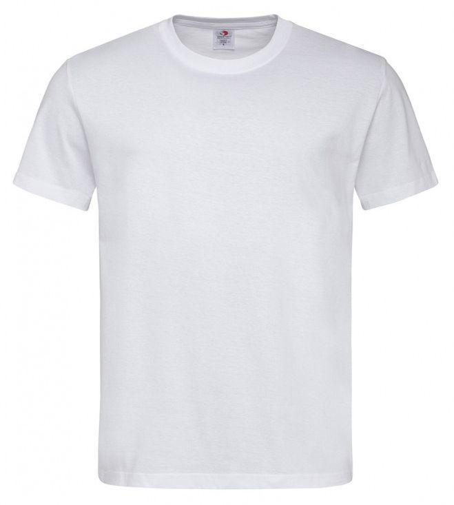 Biały Bawełniany T-Shirt Męski Bez Nadruku -STEDMAN- Koszulka, Krótki Rękaw, Basic, U-neck TSJNPLST2000white