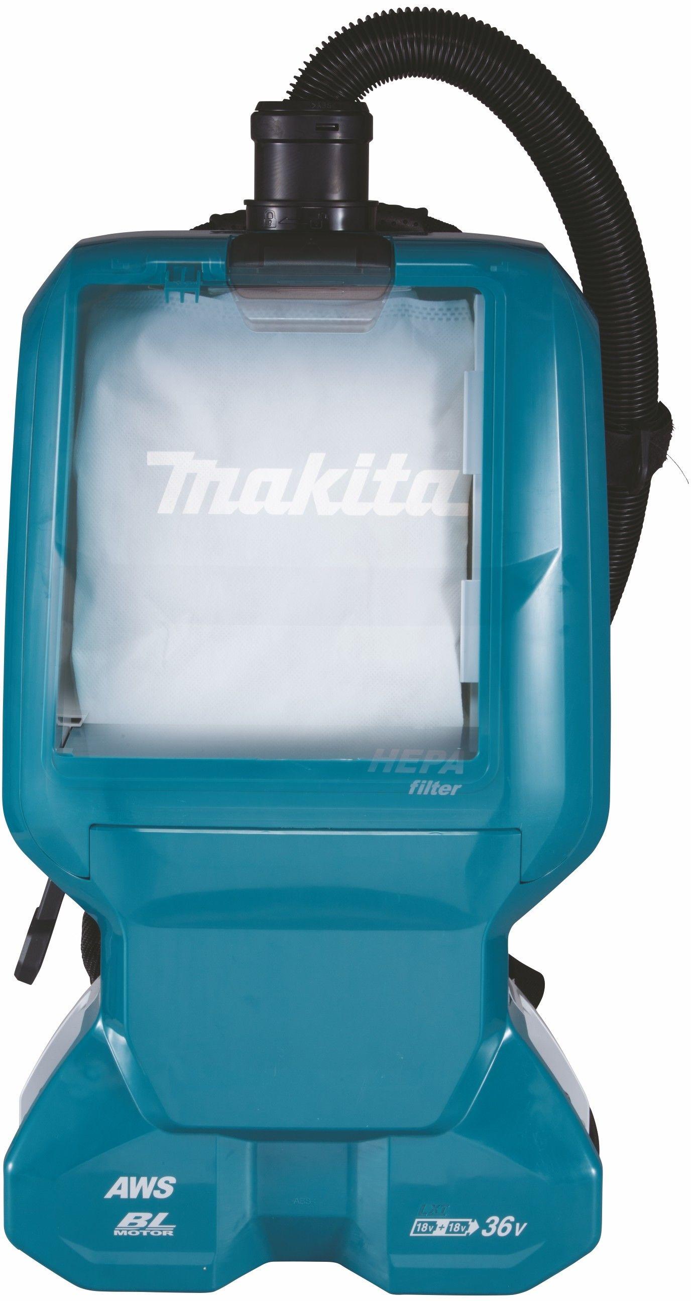 akumulatorowy, 2 biegowy odkurzacz plecakowy 18V Li-Ion AWS Bluetooth Makita [DVC665ZU] + koszulka polo z logo Makita [R-0314]
