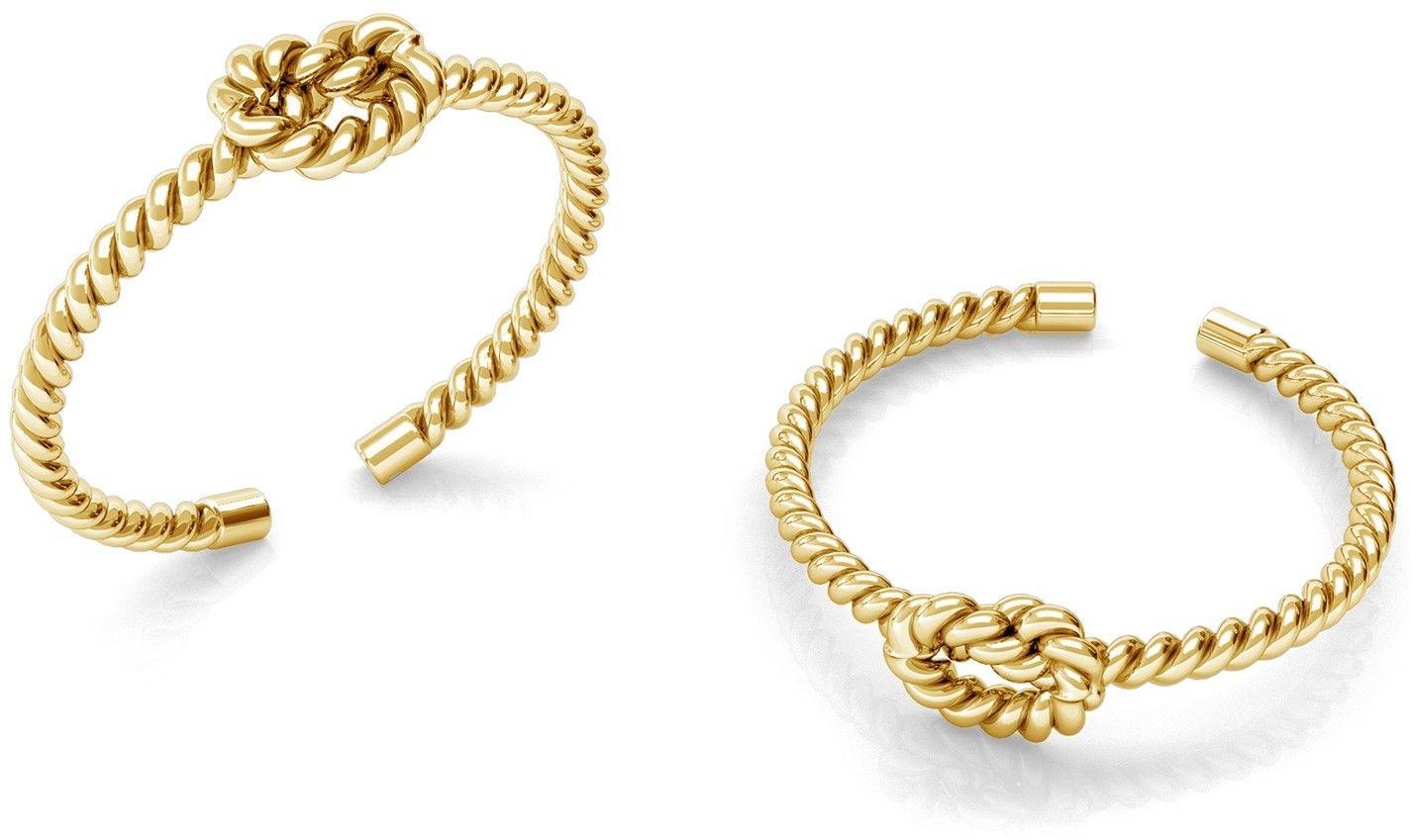 Srebrny pierścionek supeł z liny, sznurek, srebro 925 : Srebro - kolor pokrycia - Pokrycie żółtym 18K złotem