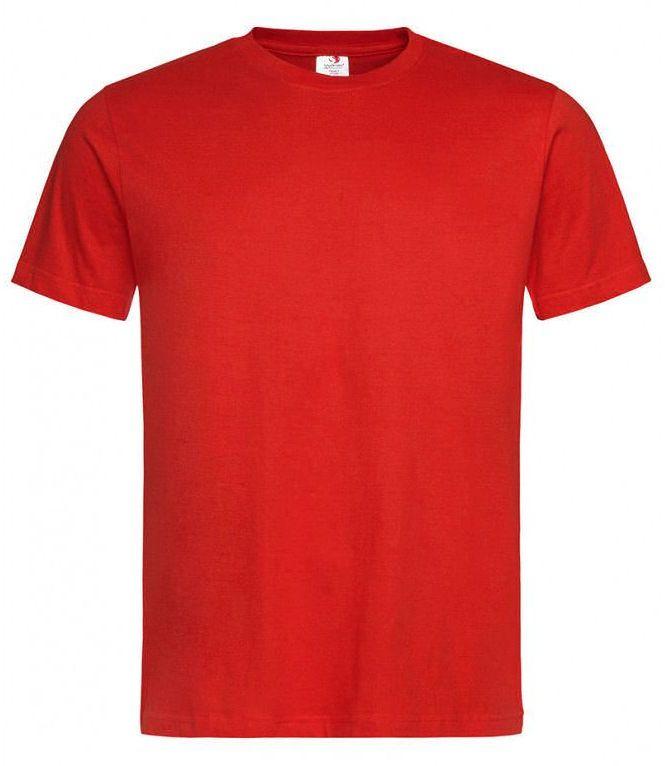 Czerwony Bawełniany T-Shirt Męski Bez Nadruku -STEDMAN- Koszulka, Krótki Rękaw, Basic, U-neck TSJNPLST2000scarletred